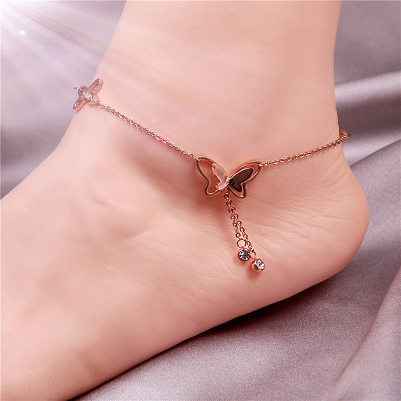 USTAR Stainless Steel Butterfly Anklets For Women Cubic Zirconia Chain Foot Bracelet Anklet Summer Sandals Jewelry Colorfast