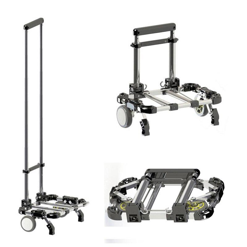 Multifunctional Folding portable shopping cart Home aluminum alloy shopping cart trolley car Luggage trailer Aluminum alloy cart