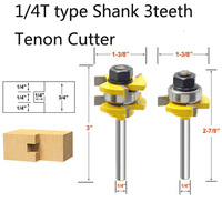 Freeshipping 1/4 Shank 3 teeth Tenon Cutter Carbide Glue Joint Router Bit Set Super Hard Material Tungsten Carbide