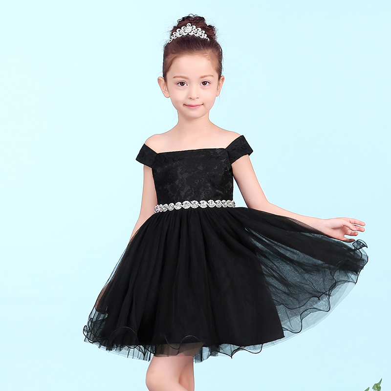 Luxury Black Tutu Princess Dress Lace Crystal Shoulderless Ball Gown Flower Girl Dresses For Prom Party Birthday Pageant Dresses free shipping custom design princess dresses gown long prom dress pink white yellow flower girl dress pageant ball party dresses
