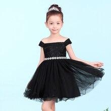 Роскошный черный пачка платье принцессы кружева кристалл shoulderless бальное платье девушки цветка платья для выпускного вечера партия день рождения pageant платья
