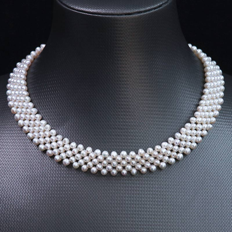 Free Shipping 6 7mm Natural Round Knitted Unique Freshwater White Pearl Necklace 31 37cm