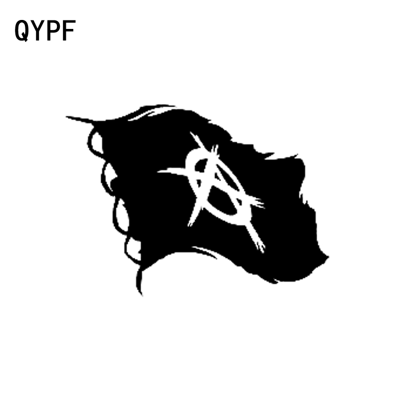 QYPF 13.2CM*9.5CM Fashion Anarchy Flag Vinyl Car-styling Decal Car Sticker Black/Silver C15-0472