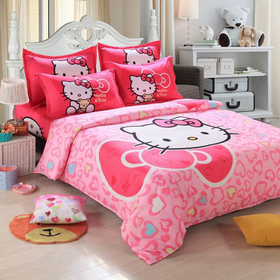 Pink hello kitty bedsheet - 19 Print Hello Kitty Bedsheet 4pcs 3d Bedding Sets King Size Duvet Cover Bed Sheet Pillowcase