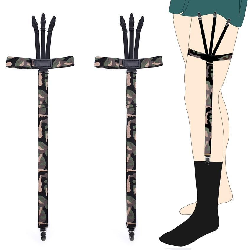Fashion Man's Garters Shirt Stays Skirt Holder Gentleman's Leg Suspenders Gourd Buckle Elastic Uniform Strap Shirt Garters