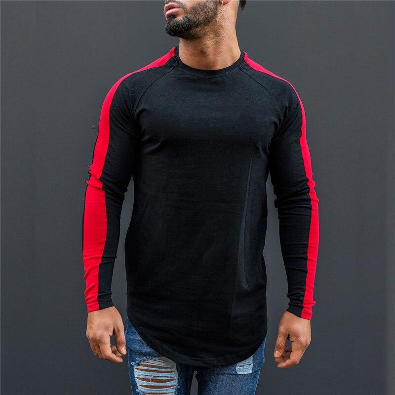 Muscleguys   T  -  Shirt   Men 2018 Spring Autumn New Long Sleeve O-Neck   T     Shirt   Men Brand Clothing Fashion Patchwork Cotton Tee Tops