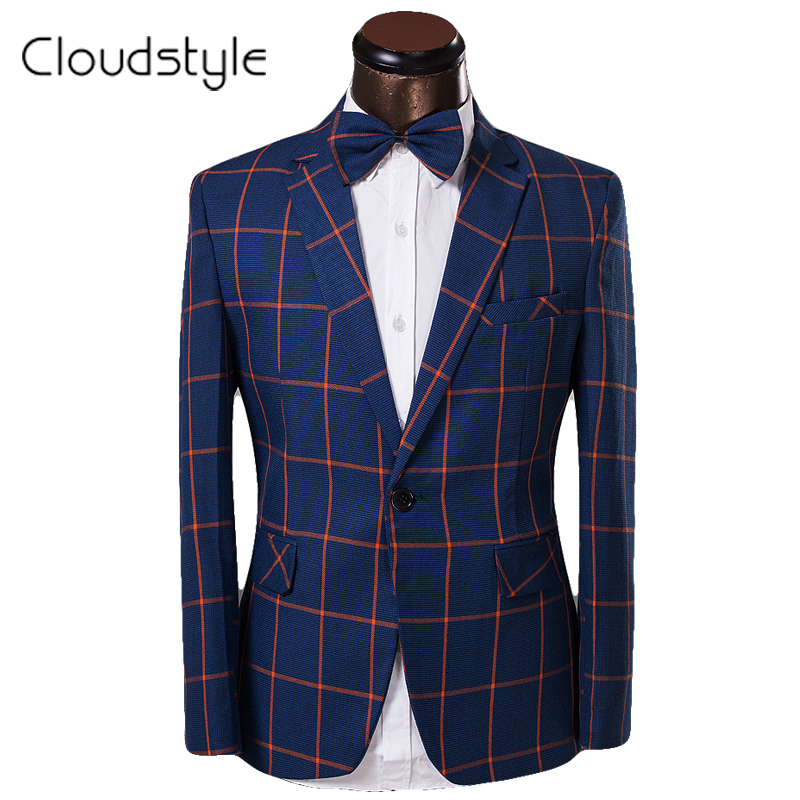 New Casual Mens Formal Groom Wedding Costume Homme Suits Brand Clothing 2016 Man Plaid Slim Fit
