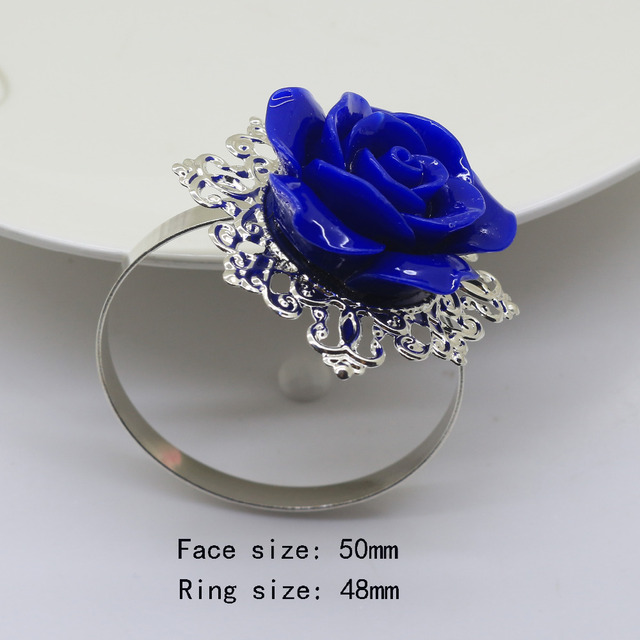 NEW Blue Roses Napkin Ring Silver Decorative Iron Napkin Rings Holder  Wedding Napkins Cloth Decorative Deduction