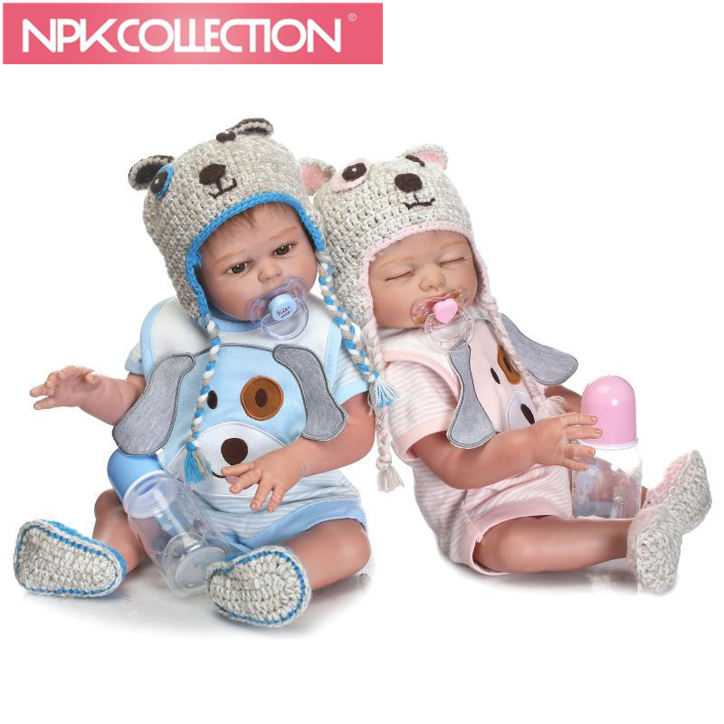 NPK 50cm Bebe Reborn Doll Full Body Silicone Lifelike Baby-Reborn Boy&Girl Doll With Cute Knitted Hat Special Gift For Baby pink wool coat doll clothes with belt for 18 american girl doll