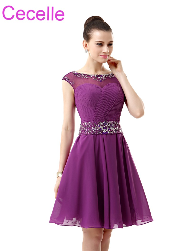 Purple Short Cocktail Dresses 2019 Sleeveless Beaded Ruched Chiffon A-line Knee Length Juniors Informal Prom Cocktail Party Gown cocktail dress