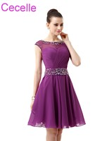Purple Short Cocktail Dresses 2019 Sleeveless Beaded Ruched Chiffon A line Knee Length Juniors Informal Prom Cocktail Party Gown