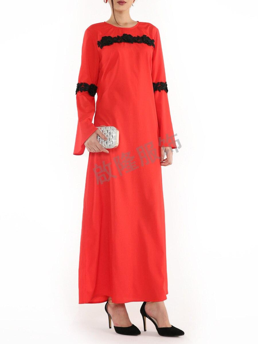 New Fashion Islamic O Neck Abaya Lace Flowers Dress Kaftan For Malaysia Women Abaya Turkish Long