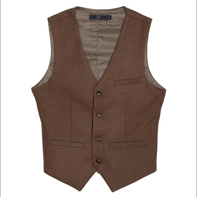 Hombres otoño chaleco vintage estilo británico de un solo pecho slim fit marca ropa de hombre solo pecho de algodón chalecos para hombre a2924