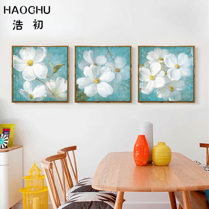 Frameless Canvas Art Oil Painting Flower Painting Design: HAOCHU Nordic White Flower Wall Picture Hand Painted Oil