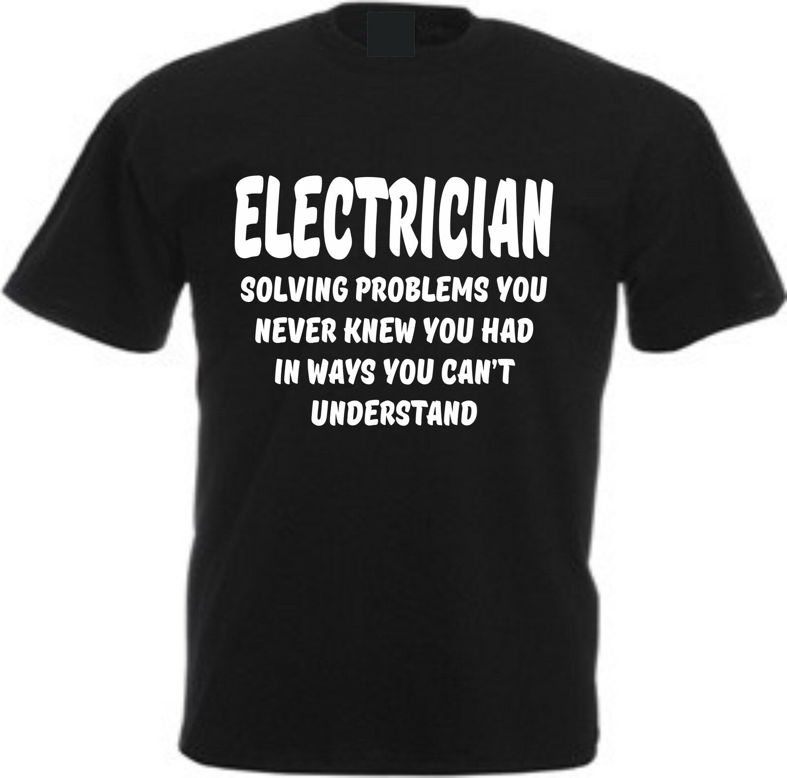 ELECTRICIAN SOLVING PROBLEMS YOU NEVER KNEW YOU HAD FUNNY COTTON SPARKY T SHIRTSummer Men'S fashion Tee