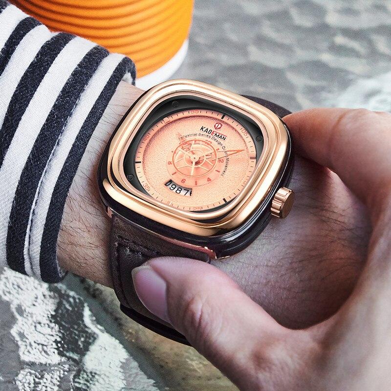 2019 hommes de luxe montres nouvelle mode carré Quartz montre haut marque KADEMAN décontracté en cuir montres affaires Relogio Masculino 5