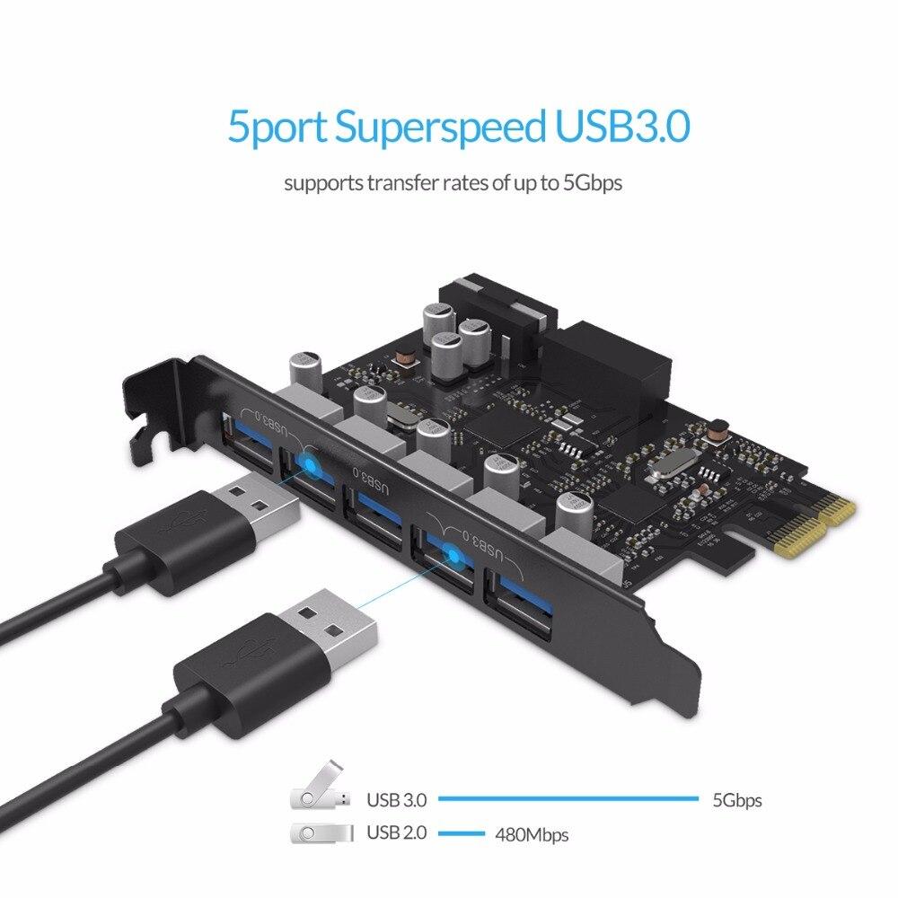 ORICO PVU3-5O2I USB3.0 5-портовая карта расширения PCI-E с двойным чипом высокоскоростной 5 Гбит/с черный PCBA с 20-контактным слотом