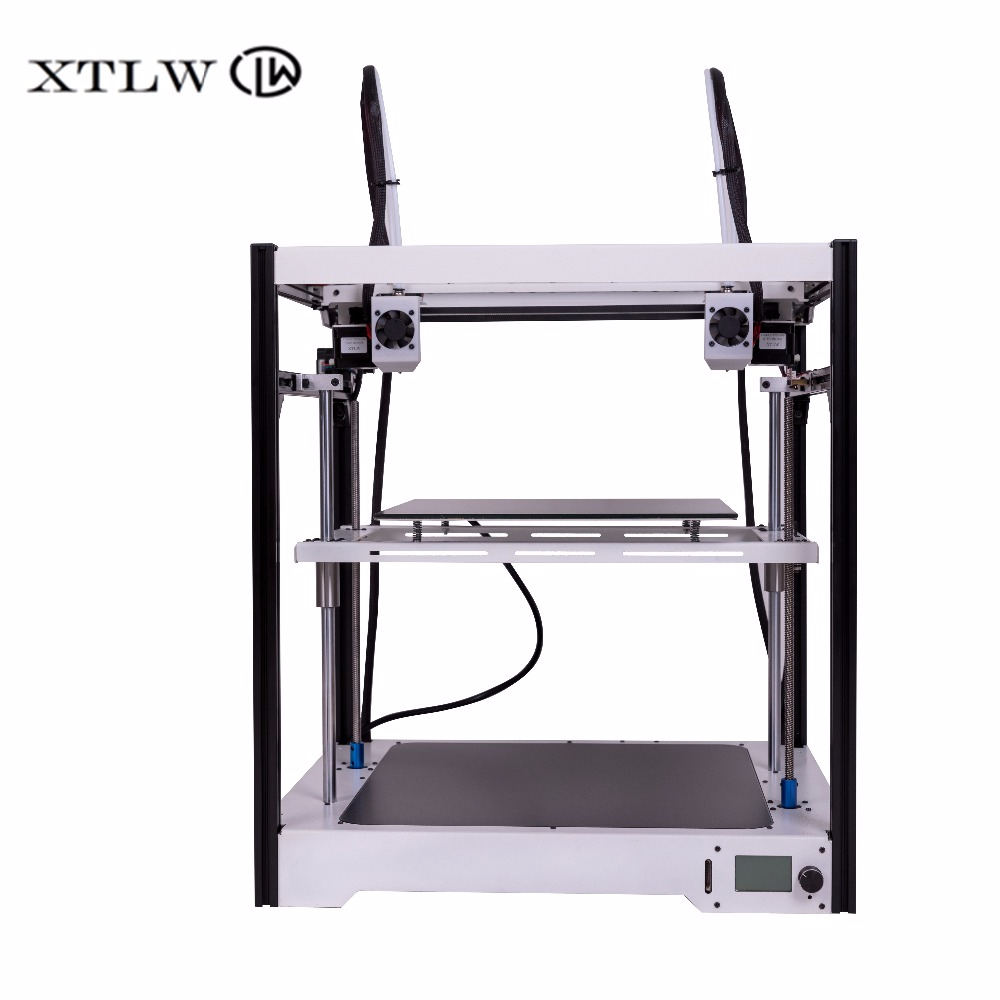 Newest Dual Extruder 3D printer Independent Dual Extruder Large size Sheet Metal frame High Quality Precision DIY kit LCD