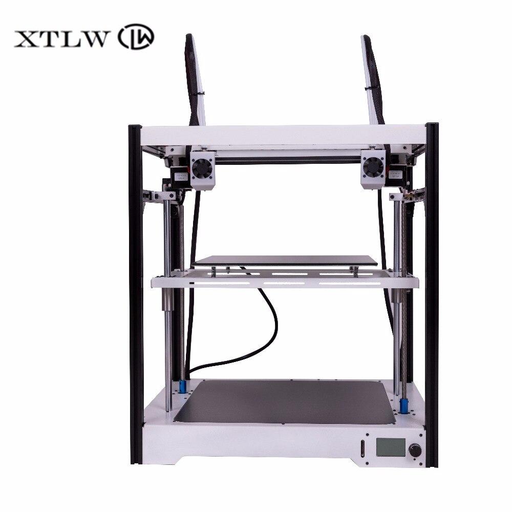 Più nuovo Dual Estrusore stampante 3D Indipendente Dual Estrusore di Grandi dimensioni Copriletto struttura In Metallo di Precisione di Alta Qualità kit FAI DA TE LCD