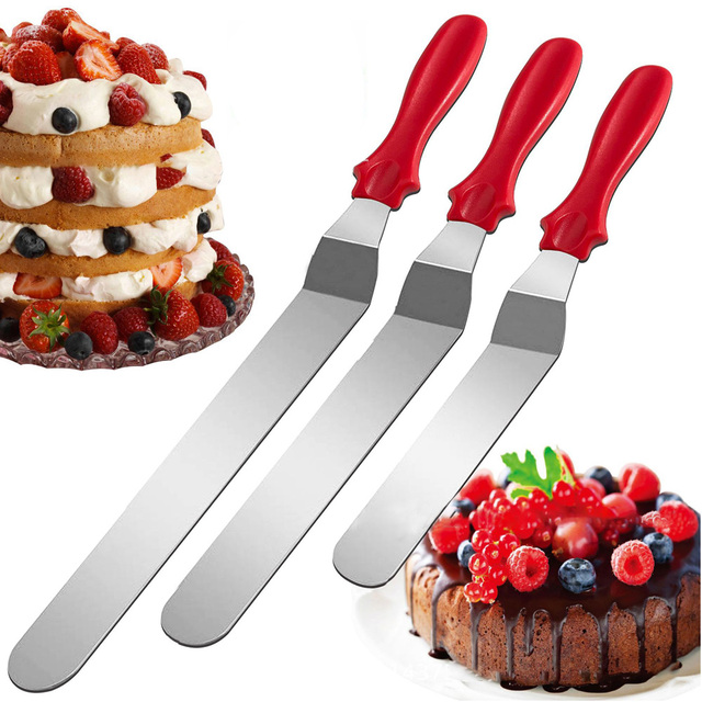 IVYSHION 3pcs/set Stainless Steel Cake Spatula Butter Cream Icing Frosting Knife Smoother Kitchen Pastry Cake Decoration Tools