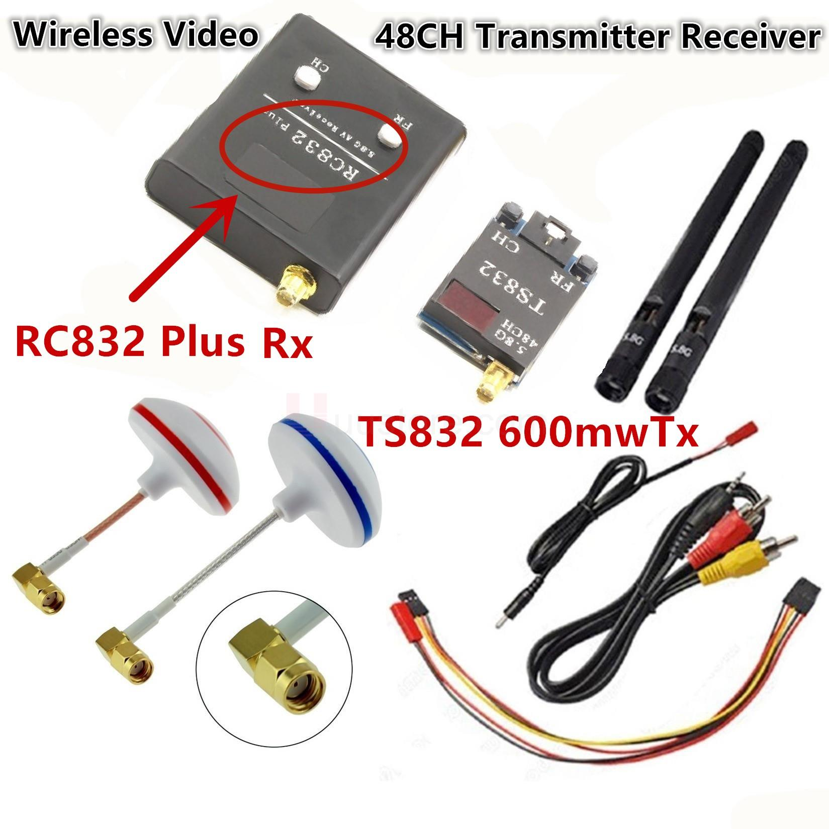 FPV 5.8G 5.8GHz 600mW Wireless AV Audio Video 48CH RC Transmitter TX TS832 & Receiver RX RC832 Plus For Racing drone F450 QAV250 ts832 48ch 5 8g 600mw 5km wireless audio video transmitter for fpv rc