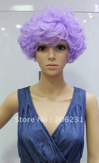 Short Curly Purple Hair Anime Lovely Cosplay Wigs (Free Shipping) 10pcs lot  mix order 823ac4db8d93