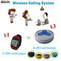 Wireless Service Bell-System Für Restaurant Kellner LED Uhren Ausrüstung Mit Niedrigen Preis 1 armbanduhr pager + 3 anruf taste
