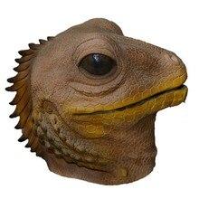 popular festival Carnival Animal Props Full face Plush Latex brown lizard Mask