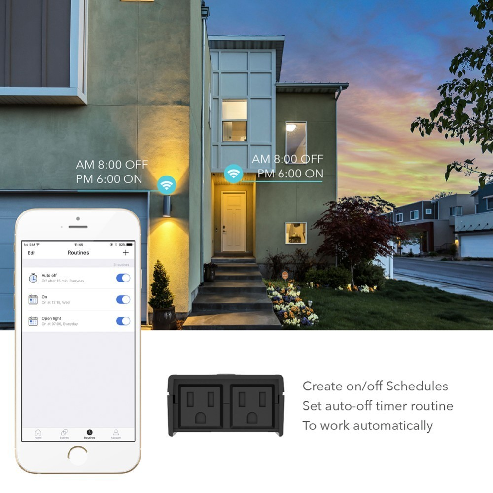 WiFi Smart Outdoor Waterproof US Plug Outlet Two Holes Alexa Google Voice Control American Socket Support IFTTT