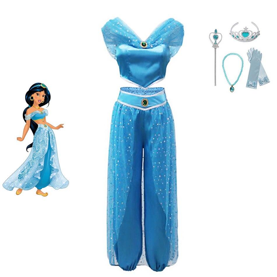 Girls Jasmine Princess Dress Children Jasmine Fancy Costume Kids Dresses For Baby Girls Toddler Arabian Cosplay Summer Sets in Dresses from Mother Kids