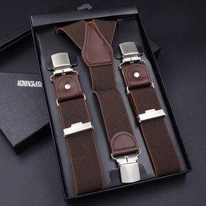 Image 3 - 63 Colors Mens Suspenders  3/6 Clips Braces Leather Suspensor Adjustable Belt Strap Bretelles Vintage Mens Suspender For Skirt