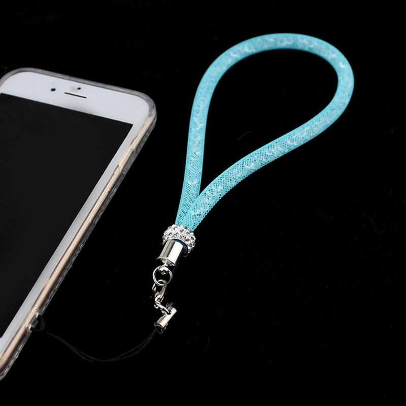 ブリンブリンラインストーンダイヤモンド電話ストラップストラップファッションシャイニーカラフルな短手携帯チェーン