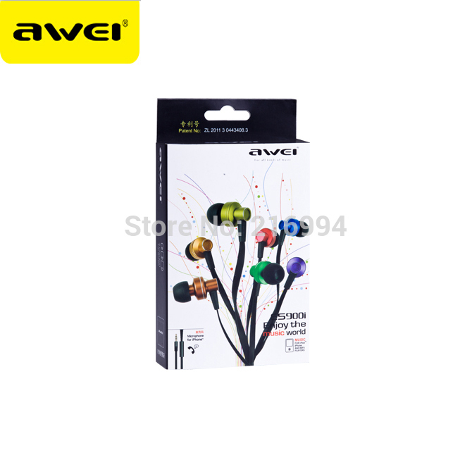 Genuine Awei ES900i In-Ear Earphone for Iphone IPOD Samsung HTC Xiaomi,Clear Bass with Mic Headset ,Free shipping original awei q9 bass earbuds 3 5mm in ear wooden earphone for iphone xiaomi samaung