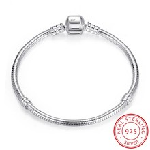 100% Solid 925 Sterling Silver 16 23cm Long Snake Chain Bracelet Bangle Luxury Wedding Jewelry for Women Gift