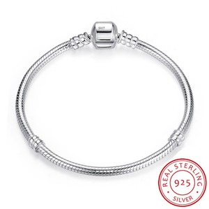 Image 1 - 100% Solid 925 Sterling Silver 16 23cm Long Snake Chain Bracelet Bangle Luxury Wedding Jewelry for Women Gift