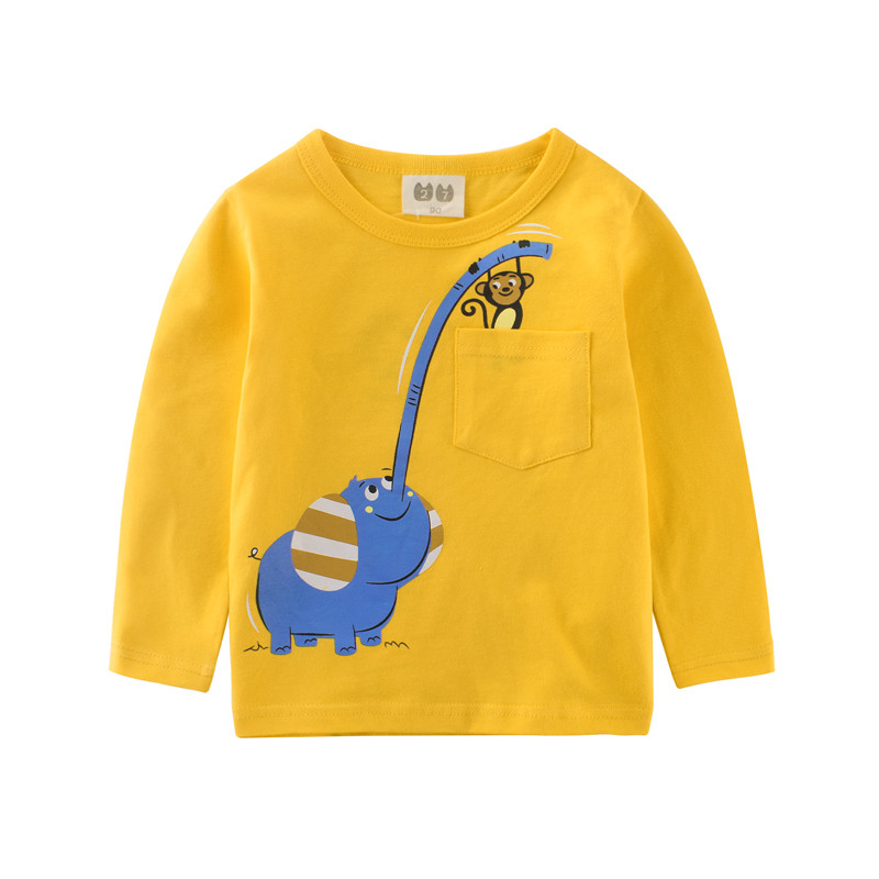 2017 New boys long sleeve T shirt kids tops clothes with printed a Elephant and a monkey autumn winter boys shirt baby boys tops ...