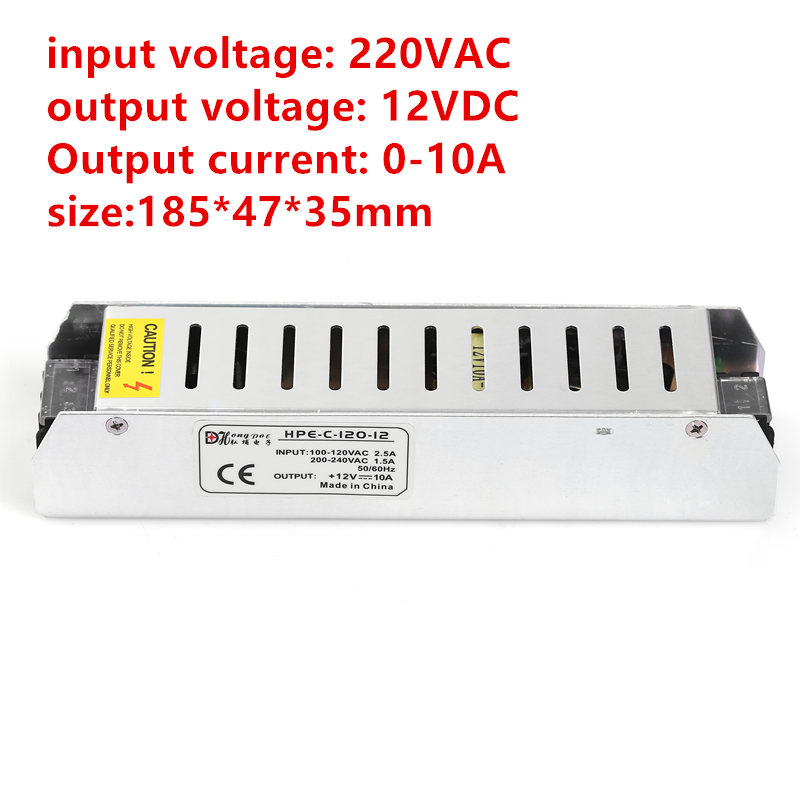 1pcs DC12v 10A 120W 12v led strip LED module 12v power supply 12v 10A long strip switching power supply 12v 185*47*35mm 10a 120w dc power transformers 12v 10a 120w ac100 240v s 120 12 led drive switc power supply adapter for rgb led strip 12v10a