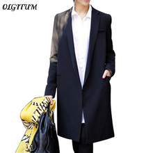 OLGITUM 2018 Autumn new Women long coat black Small suit loose blazer slim jacket women's blazers OL thin plus size outerwear