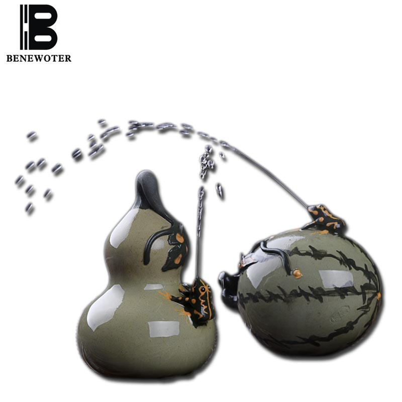 ( Can Spray Water ) Ceramic Yixing Watermelon Gourd Figurine Crafts Kung Fu Tea Set Tea Pet Bonsai Succulent Ornament Home Decor