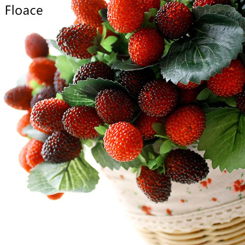Floace 9 Fruit Décoration Fleur Artificielle Fruit Paddle Fraise Photo Props Artificielle Plant Paddle Mulberry Pour la fête