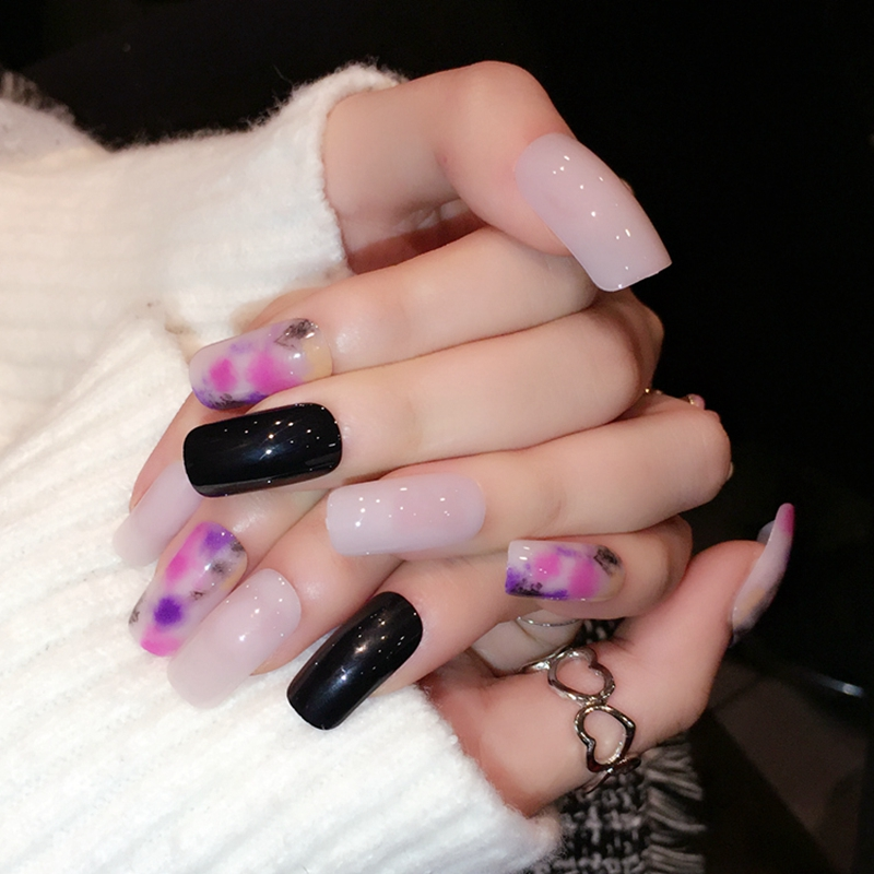 24pcs Beige Elegant Full Nails Long Acrylic Nails Decoration ...