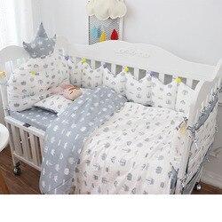 Kwaliteit Katoen Wieg Beddengoed Set 9 stks Baby Beddengoed voor Ledikant Multi Maten Baby Bed Set Omvat Crown Bumpers Quilt kussen Sheet