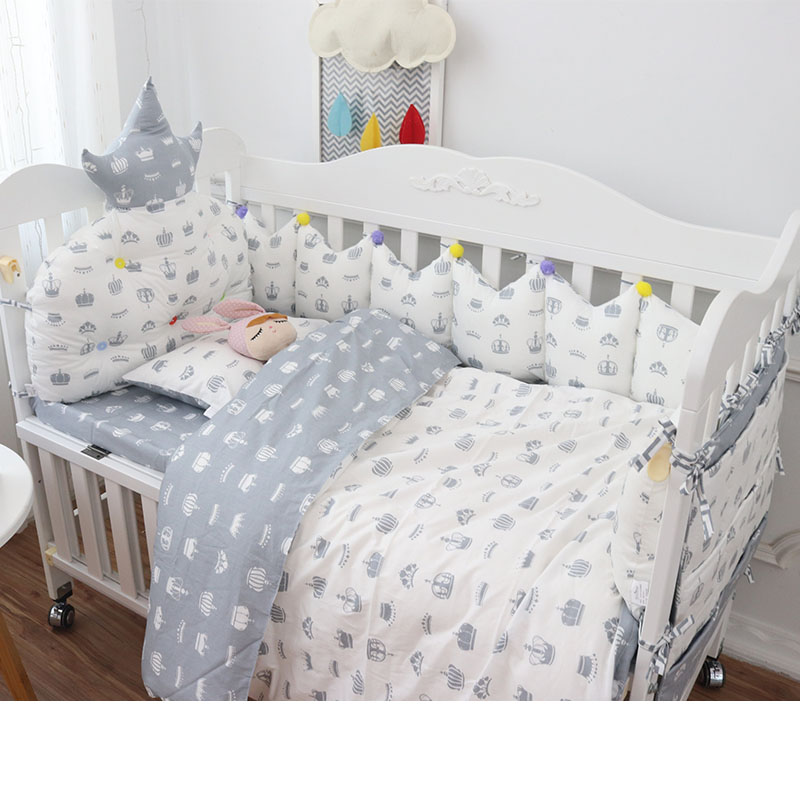 Quality Cotton Crib Bedding Set 9pcs Baby Bedding for Cot Multi Sizes Baby Bed Set Include Crown Bumpers Quilt Pillow Sheet 7 pcs set ins hot crown design crib bedding set kawaii thick bumpers for baby cot around include bed bumper sheet quilt pillow