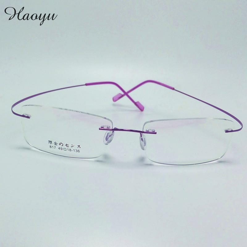 Rimless Glasses With High Prescription : haoyu Memory Titanium Alloy Brand Glasses Frame Eyeglasses ...