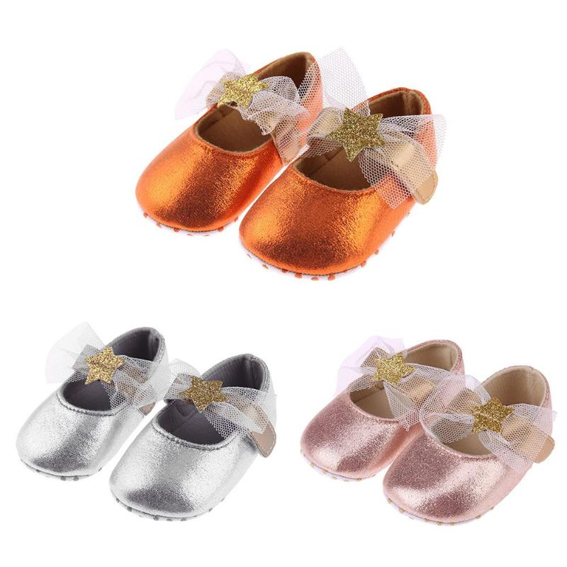 Kids Girl Prewalker PU Leather Baby Girls Princess shoes Infant Girls Sequin Stars Shallow Stickers Soft Soles First Walkers