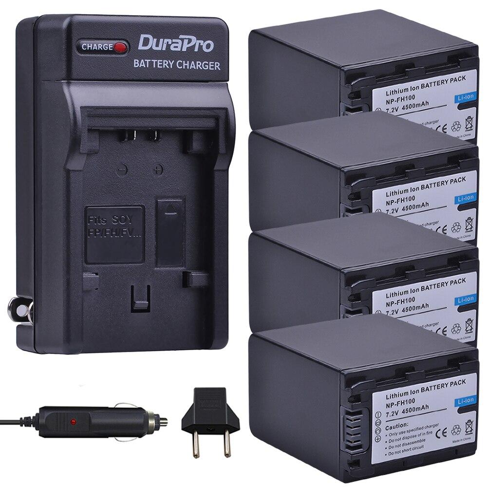 4pc 4500mAh NP-FH100 NP FH100 Camera Battery + Car / Wall Charger For Sony DCR-SX40 SX40R SX41 HDR-CX105 SR42E SR45E Bateria durapro 4pcs np f970 np f960 npf960 npf970 battery lcd fast dual charger for sony hvr hd1000 v1j ccd trv26e dcr tr8000 plm a55