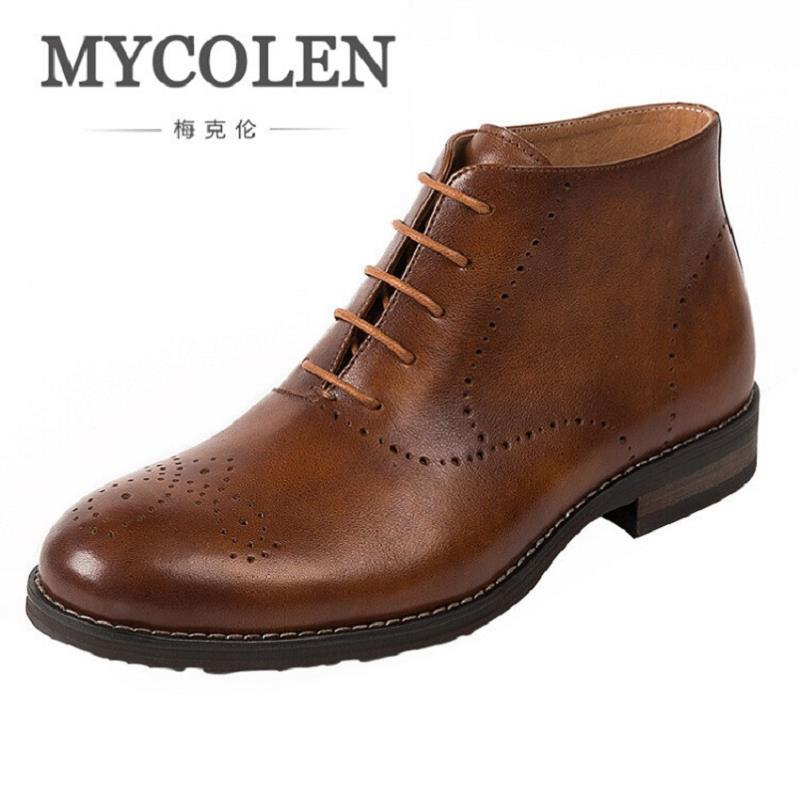 MYCOLEN Brand Fashion Brogue Men Boots Lace Up High Quality Men Ankle Boots Brown Top Quality Men's Shoes Winter Botas Hombre mycolen high quality men white leather shoes fashion high top men s casual shoes breathable man lace up brand shoes