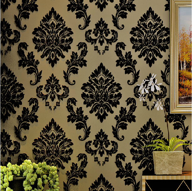 3D Thick Velvet Flocked Wallpaper European Non-woven Wallpaper Roll Living Room TV Background Wallpaper For Walls 3D Wall Paper living room tv background wallpaper modern black and white flowers 3d home furnishings pure color non woven wallpaper n4