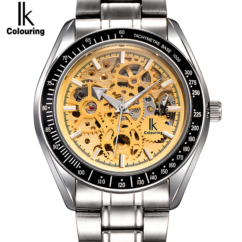 IK colouring Full Steel Luminous Automatic Mechanical Watches Men Brand Luxury Transparent Hollow Skeleton Military Watch ik colouring brand mechanical hand wind clock nail scale hollow back cover luminous hardlex full steel business men s watch