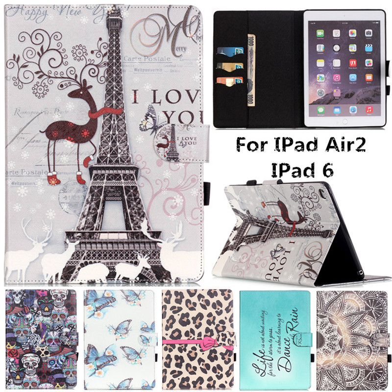 For IPad Air 2 Cute Cartoon Dream Deer Tower Skull Stand Flip Leather Fundas Case For Apple IPad Air2 IPad 6 IPad6 Tablet Cover for case apple ipad air 2 cute kids gift animal prints pu leather tpu case cover stand flip kids cover for ipad air 2 coque